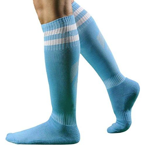 Kolylong 1 Paar Männer Herren Fußball Gestreift hohe Socken Eishockey ( Hellblau)