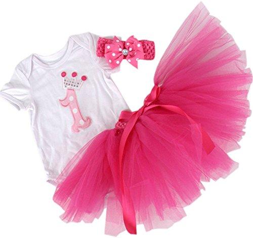 BabyPreg Baby Mädchen 3PCs Erster Geburtstag Onesie Tutu-Kleid Stirnband (L/9-12 Monate, Heiß Rosa)