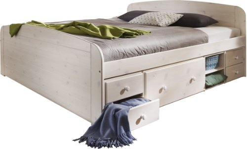 Steens 75600413 Bett Jana mit Unterbau 180 x 200 cm Kiefer massiv, white wash