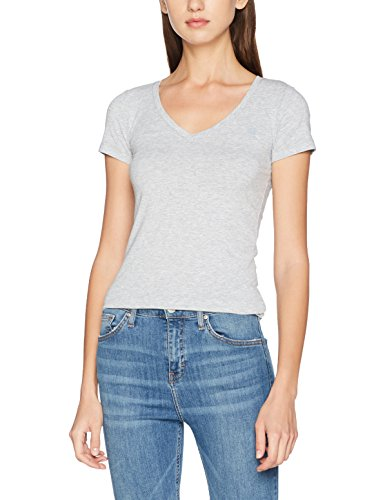 Cap Sleeve T-shirt Jersey (G-STAR RAW Damen T-Shirt Base V T Wmn Cap SL, Grau (Grey Htr 906), Small)