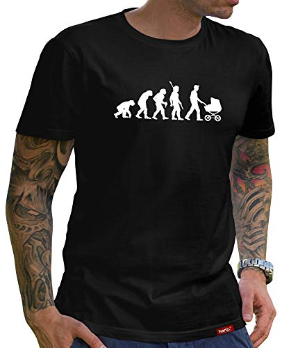 HARIZ  Herren T-Shirt Papa Collection 36 Designs Wählbar Schwarz Vatertag Weihnachten Männer Geschenk Karte Urkunde Papa26 Papa Evolution M (Karten Haus)