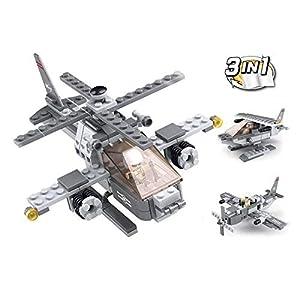 SLUBAN BRICKS, Army 3 en 1 Helicóptero 144 Piezas Juegos de construcción (AJ