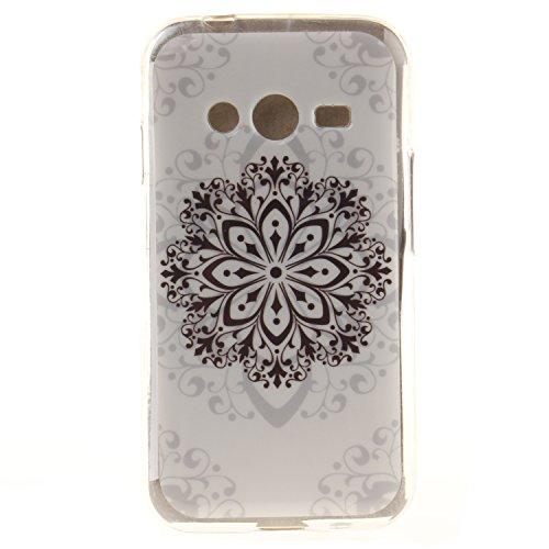 Qiaogle Telefono Case - Soft Custodia in TPU Silicone Case Cover per Samsung Galaxy Trend 2 Lite SM-G318H / SM-G313H - TX40 / Nero Fiore