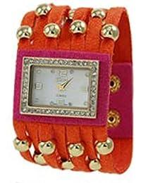 Funda de piel y inspirado en color block watch-orange