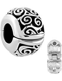 Pugster Irish Celtic Swirl Flower Clip Lock Stopper Spacer Charms Sale Bead fit Pandora Bracelet