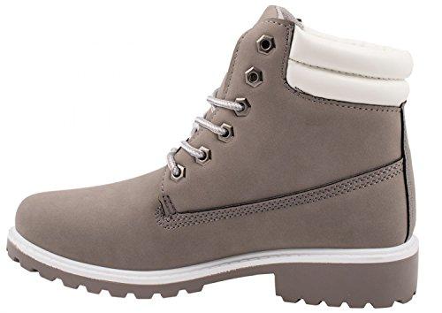 Elara Damen Stiefeletten | Bequeme Worker Boots | Profilsohle Schnürer Grau
