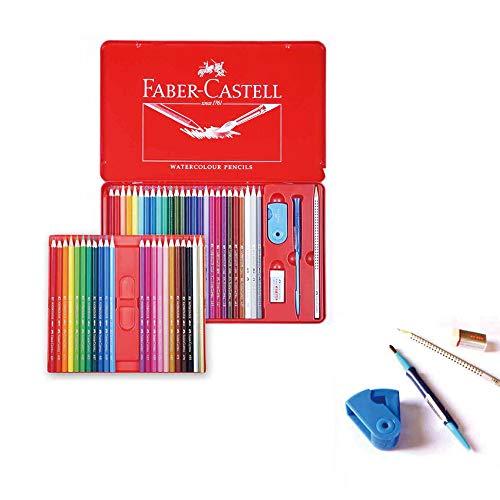 Faber Castell 48 lápices de acuarela en lata de metal con regalo para pintura artística