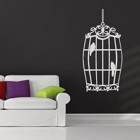 Hanging Bird Cage Wall Sticker Adesivo Arte contemporanea disponibile in 5 dimensioni e 25 colori Piccolo Pelle