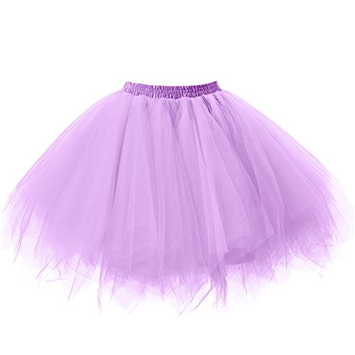 Ellames Damen 50er Vintage Petticoat Party Dance Tutu Rock Ballkleid Lavendel L/XL