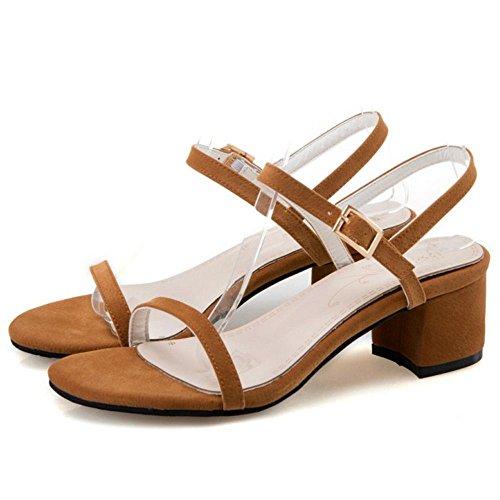 COOLCEPT Damen Mode Knochelriemchen Sandalen Mitte Blockabsatz Open Toe Slingback Schuhe Gr Gelb-Braun