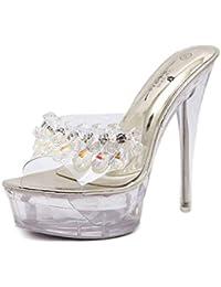 Zapatillas de cristal de diamante transparente de tacón muy alto para mujer  - Zapatillas de cristal transparentes con… c3cca687089f