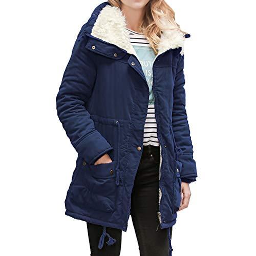iHENGH Neujahrs Karnevalsaktion Damen Herbst Winter Bequem Mantel Lässig Mode Jacke Frauen Warme Lange Mantelkragen Kapuzenjacke Damen Winter Parka Outwear ()