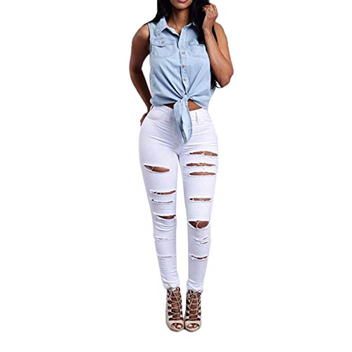 Damen Mittlere Taille Skinny Hole Denim Jeans Stretch Slim Hose Wadenlange Jeans -