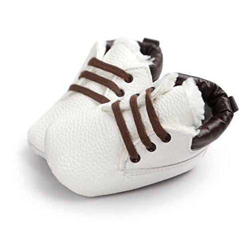 Baby Schuhe Für 0-18 Monate , Auxma Babyjungen weiche lederne Schuhaufladungen Prewalker Schuhe (12(6-12M), Marine) Weiß (Winter)