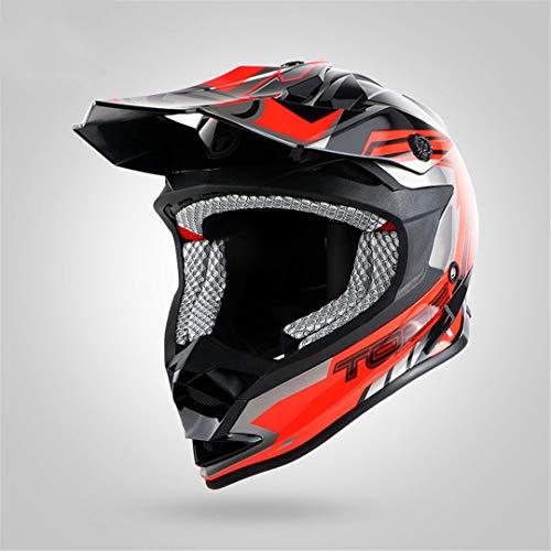 O-Mirechros off Road Casco per Adulti Moto Casco Casco Moycle del Casco Sporco Bike Racing Croce Motocross Caschi Black Fire XL