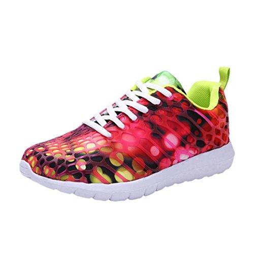 FNKDOR Unisex Sneaker Bunt Laufschuhe Sportschuhe Fitness Turnschuhe(EU:42 (CN:43),Rot)
