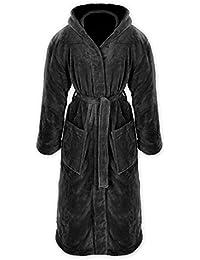 Gräfenstayn® Damen & Herren Kuschelfleece Bademantel mit Kapuze Größe S-XXXL Öko-Tex Standard 100 Flanell Fleece