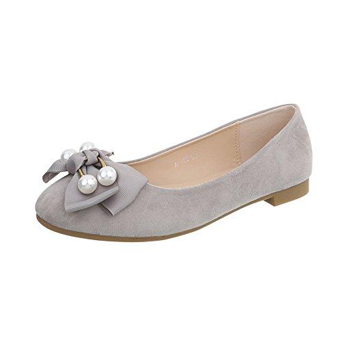 Ital-Design Klassische Ballerinas Damen-Schuhe Blockabsatz Hellgrau, Gr 37, A-160- -