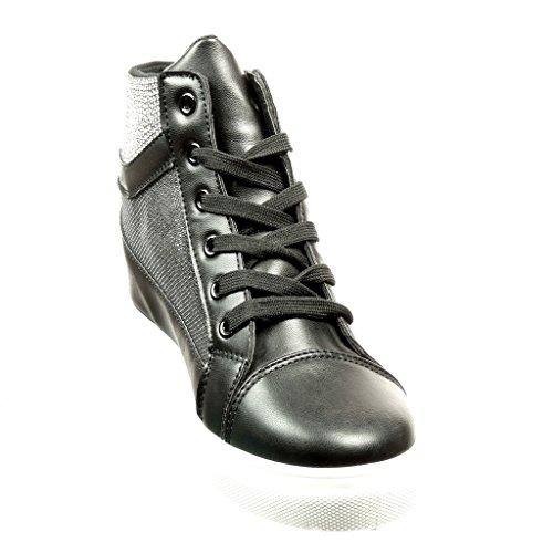 Angkorly - Scarpe Moda Sneaker Zeppa donna strass fishnet Tacco zeppa 6.5 CM Nero