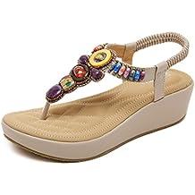 Damen Sommer Sandalen Plateau Flip Flops Bohemia Keilabsatz Clip Toe Sandaletten Schuhe mit Perlen XBoSAHLk