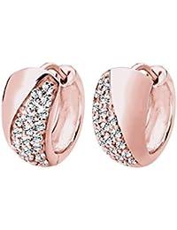 Elli de boucles d'oreilles créoles femme-argent 925/1000–cristal-plaqué or rose brillant doré - 0303653115