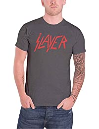 Slayer T Shirt Distressed Classic Red Band Logo Official Mens Charcoal Grey