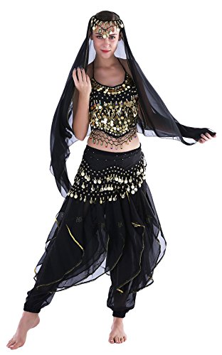 Schwarz Bauchtänzerin Kinderkostüm Damen Orientalische Bauchtanz Fasching-Kostüme Chiffon