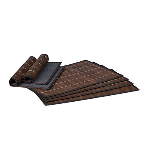 Relaxdays Tischset 6 teilig, Platzdeckchen, Bambus, rutschhemmende Unterseite, 30 x 45 cm, 6er Platzset, 6 Tischmatten, abwischbar, braun