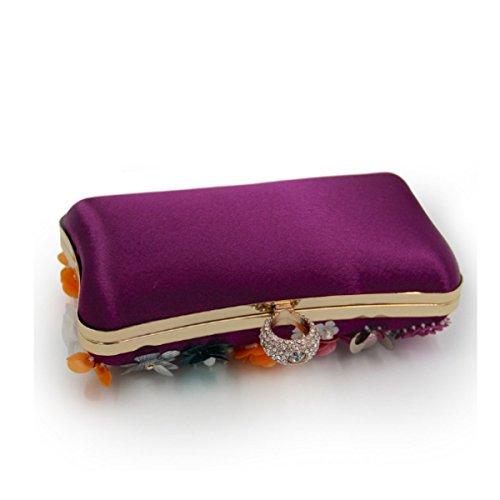 Frauen-Blumen-Abendbeutel-Brautbeutel-High-End-Handtasche Purple
