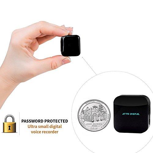 aTTo Digital Spionage Recorder – Mini Diktiergerät, Stimmenaktivierung, Passwortschutz, 24 Stunden Akku, 286 Stunden Aufnahme, 4GB, USB-Anschluss, Schwarz