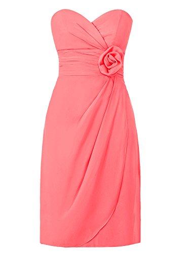 Dresstells, robe courte de demoiselle d'honneur avec fleur col en cœur Corail