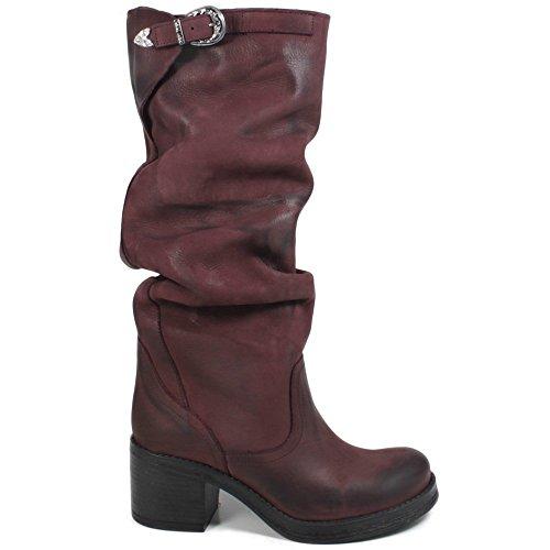 In Time Stivali Biker Boots Alti Tacco Donna 0310 Bordeaux Arricciati in Vera Pelle Made in Italy Bordeaux