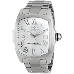 Invicta Lupah Men's Quartz Watch with Silver Dial Analogue display on Silver Stainless Steel Bracelet 15187