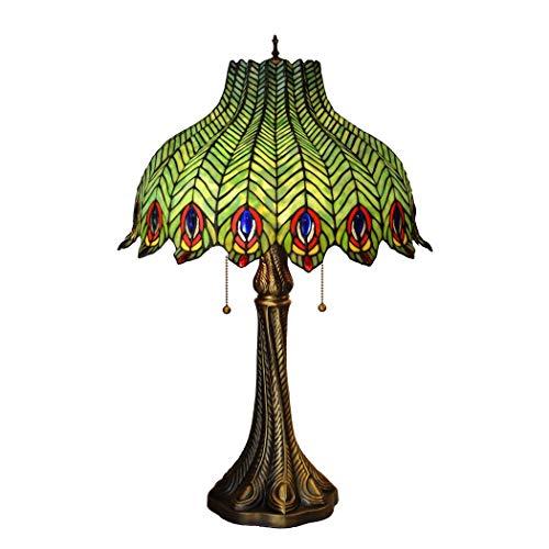 16 pouces de style Tiffany lampe d'éclairage queue plume Palais étude Ventilateur Chambre Table de chevet Lampe en verre couleur for Bureau Salon Chambre Bureau restaurant d'appareils d'éclairage DENG