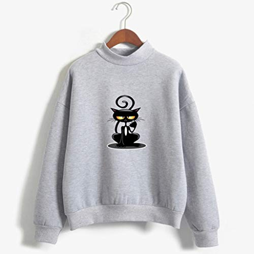 satz Normallack Katzen Muster Lange Hülse Plus Samt Sweatshirt Lässiger einfarbiger Damen-Pullover mit Katzenmuster und Langen Ärmeln(Grau,XL) ()