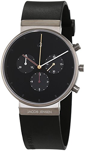 Jacob Jensen Men's Chronograph Quartz Watch with Rubber Strap Item NO.: 600