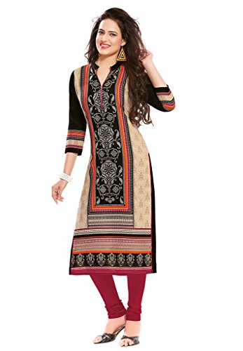 Salwar Studio Women's Beige & Black Cotton Floral Printed Unstitched Kurti Fabric (only Kurti Fabric)  available at amazon for Rs.475
