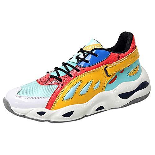 Lilicat Scarpe da Ginnastica Uomo Sportive Corsa Trail Running Sneakers Fitness Casual Basse Trekking Estive Running all'Aperto Scarpe da Corsa(Giallo E,41 EU)