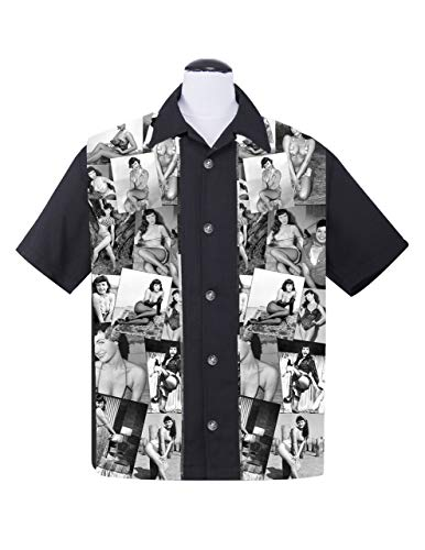 Rock Steady Bettie Page 50s Pinup Poses Collage Bowling Shirt Hemd
