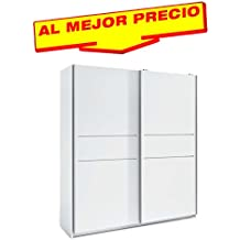 ARMARIO ROPERO DE DOS PUERTAS CORREDERAS COLECCIÓN MUNDOO, COLOR BLANCO, MEDIDAS 182X200 CM - OFERTAS DE HOGAR ¡AL MEJOR PRECIO!