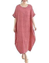 d63370dea04 Women Loose Large Size Slim Cotton and Linen Striped Dress Plus Size O-Neck  Short