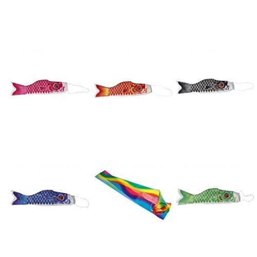 MagiDeal Lot de 6pcs 55cm Japonais Banderole Koinobori en Forme de Carpe Couleur Différent