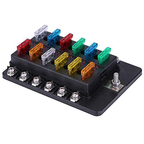 Akozon Circuit Blade Sicherungskasten Standard ATO ATC Block Holder Kit für Auto Car Truck Boat 12 Way 30a Fuse Block Holder