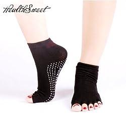 Generic Wine Red : Healthsweet Half Toe Yoga Socks Non-Slip Peep Toe Anti-Slip Pilates Ankle Grip Durable Open Half Five Fingers Cotton Yoga Socks