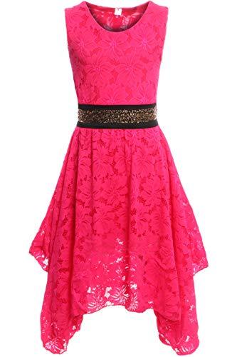 GILLSONZ PK500 vDa Mädchen fest Kommunions Hochzeit Kinder festlich Party Kleid Gr.122-176 (128/134, Pink)