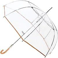 Paraguas VOGUE Transparente automático y con Sistema antiviento. Adornado con un Ribete de Color.