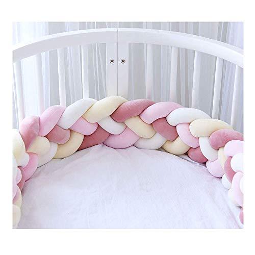 Bettumrandung Babybett Baby Nestchen Bettumrandung Weben Geflochtene Stoßfänger Dekoration für Krippe Kinderbett 2.2m/3.6m (Rosa+rosa+weiß+gelb,2.2m) - Stoßstange Weiße Kinderbett Bettwäsche