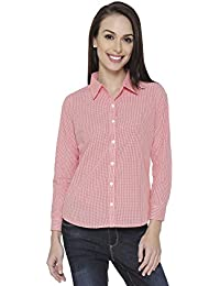 The Cotton Company Women's Checkered Shirt - White & Red