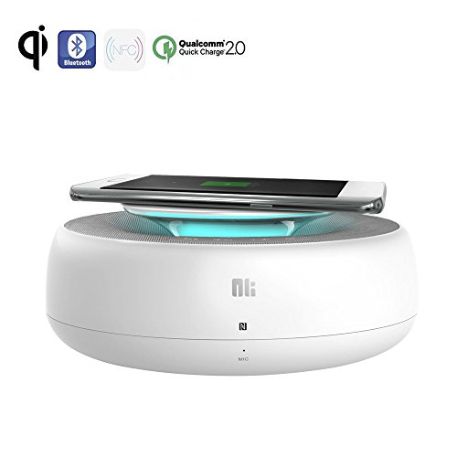 2-in-1 Qi Ladegerät mit Bluetooth 4.0 Lautsprecher - Wireless Ladestation Drahtlose Lader NFC Speaker QC2.0 USB Charger Pad für iPhone 8 X, Samsung Galaxy S8 S7 S6, Note5 Plus Edge und alle Qi-Geräte