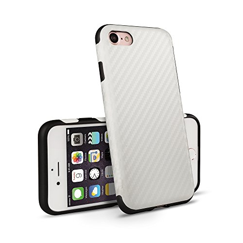 VAPIAO iPhone 8 Plus iPhone 7 Plus Schutzhülle Hülle Back Hard Cover Case TPU Bumper in Carbon Optik in Weiß